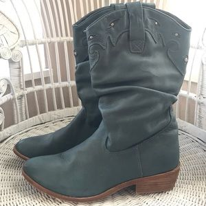 Teal Leather Western Boot. Some wear- See pics